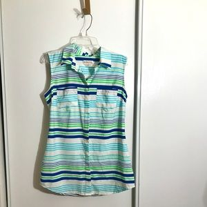 Merona s/p stripped sleeveless button up